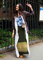 shirt,green,green skirt,indie,hipster,tibal,maxi skirt
