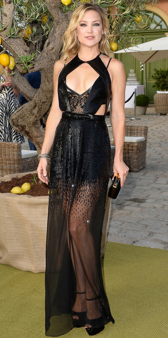 dress kate hudson black dress gown prom dress see through sheer clutch bag