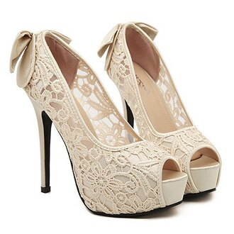 shoes lace cream heels girly pretty