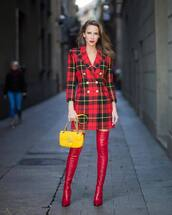 dress,mini dress,long sleeve dress,blazer dress,double breasted,thigh high boots,red boots,shoulder bag