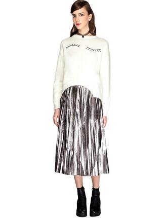 skirt midi skirt pleated skirt pleated midi skirt pixie market metallic skirt party skirt cocktail skirt pixie market girl
