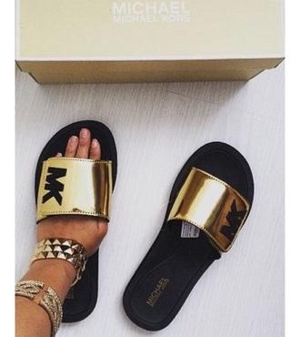 shoes slide michael kors sandals pool summer fashion gold black