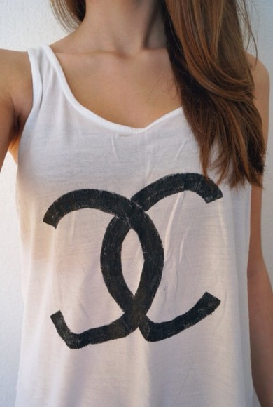 tank top chanel tank chanel white tank top shirt tank-top basic tank top brand tank top brand top t-shirt chanel t-shirt chanel tank top summer outfits