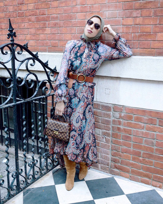 dress tumblr maxi dress printed dress boots nude boots suede suede boots belt long sleeves long sleeve dress bag sunglasses fall outfits fall dress shoes