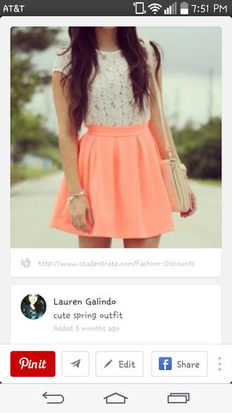 blouse lace top top cute shirt spring skirt coral skirt cute skirt skater skirt summer outfits