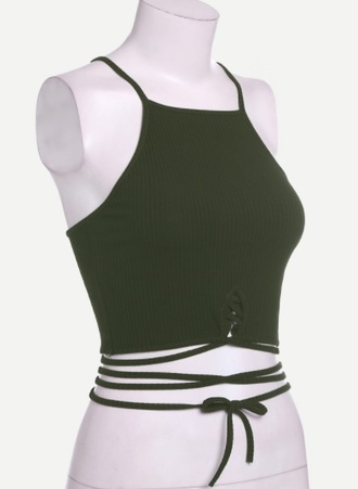 top olive green girly crop tops crop cropped lace up