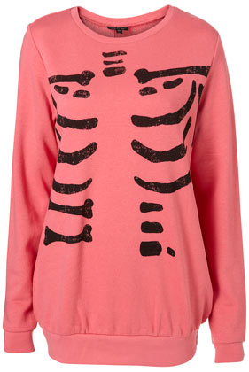 Pink skeleton print long sleeve sweat top