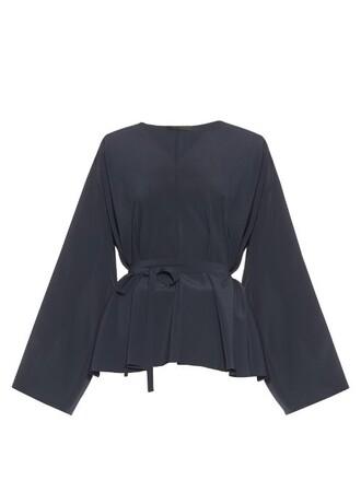 blouse silk navy top
