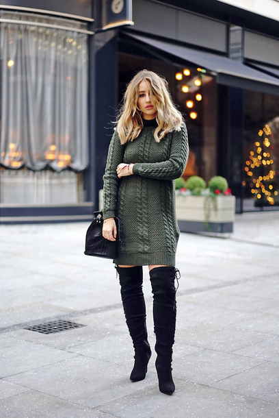 sweater tumblr knit knitwear knitted dress green dress boots black boots over the knee boots over the knee sweater dress