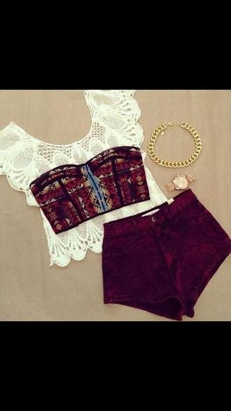 top shorts bralette lace top necklace