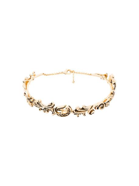 metal women necklace choker necklace grey paisley metallic jewels