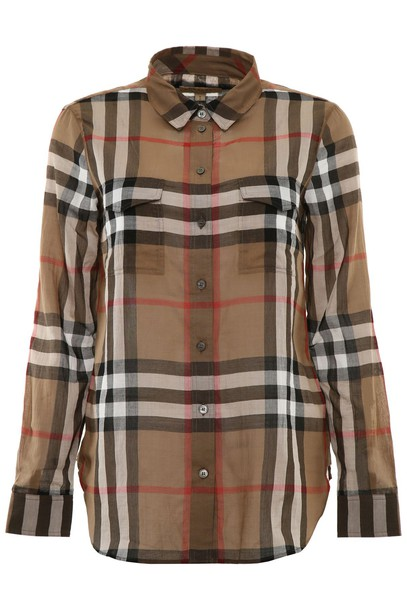 Burberry shirt cotton taupe top