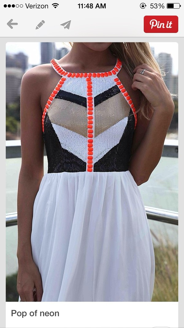 dress neon white maxi dress with embellished top