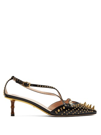 studded pumps leather black shoes