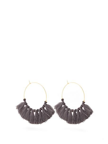 ELISE TSIKIS tassel embellished earrings hoop earrings grey jewels