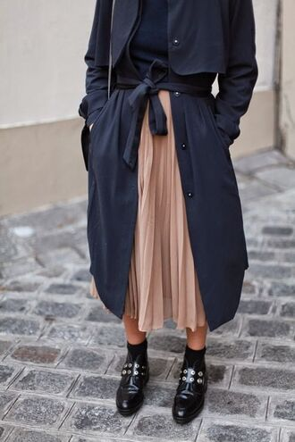 skirt studded shoes nude skirt midi skirt long skirt pleated skirt college back to school navy coat long coat black shoes office outfits trench coat fall outfits pink pink pleated skirt navy ankle boots
