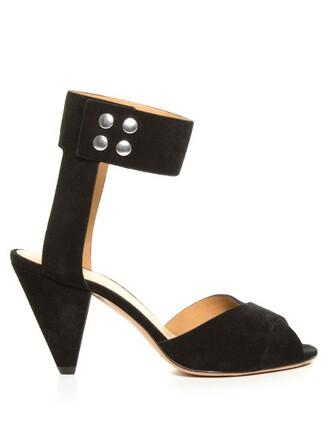 heel sandals suede black shoes