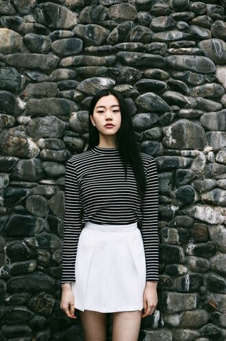 skirt striped top turtleneck striped turtle neck black and white top white skirt summer minimalist back to school fall outfits top striped turtleneck blouse girly white black colorful