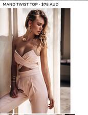 top,nude,pink,jumpsuit,bandeau,pink top,crop tops