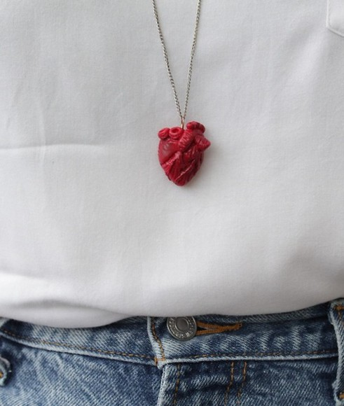 anatomical heart jewels heart necklace real reasonable red tumblr white jeans cool bloody real heart red jewels cute heart necklace fashion tumblr shirt heart, necklace human science organ pink long collar heart red Heart Body Jewelry