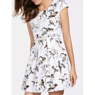 dress rose wholesale print summer outfits cute skater dress white dress summer dress printed dress