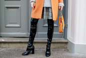 shoes,tumblr,patent shoes,vinyl,over the knee boots,black boots,high heels boots,thick heel,block heels,skirt,plaid skirt,tartan skirt,tartan,plaid,orange,orange coat,orange bag,chain bag