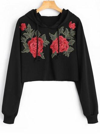 sweater black fashion style trendy rose embroidered