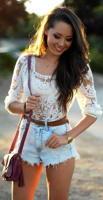 shorts white lace summery festival boho indie cute girly dress blouse