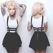 black skirt,skirt,sexy black skirt,white t-shirt,suspenders,white top,skirt with suspenders,black,punk,pretty,short,white,dress,it girl shop,alternative,virgin suicides,sexy