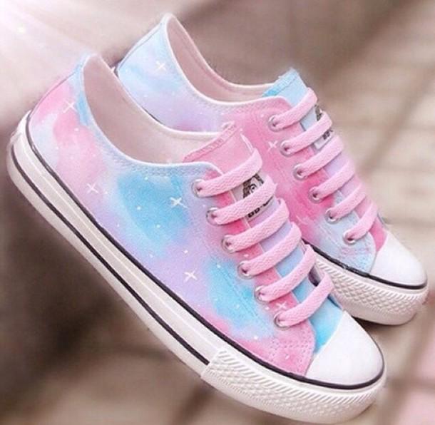 923b6065f454 galaxy print sneakers shoes high tops converse pink blue pastel purple pretty  cute rainbow stars sparkeling