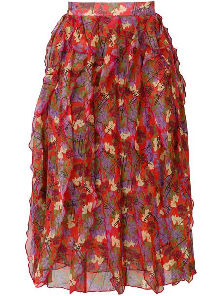 Giuseppe Di Morabito skirt women floral print silk red