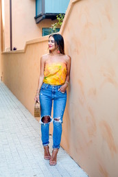 jeans,tumblr,blue jeans,sandals,sandal heels,high heel sandals,top,tube top,yellow,yellow top,bag,earrings,shoes,jewels,scarf