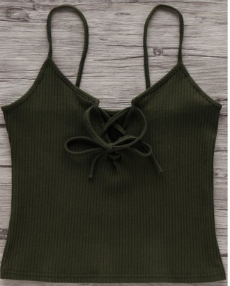 top girly crop tops crop olive green lace up