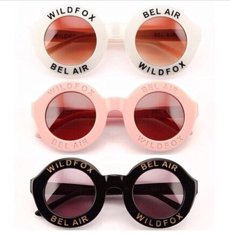 sunglasses wildfox wild fox pink pink sunglasses white white sunglasses black black sunglasses bel air bel airs round sunglasses