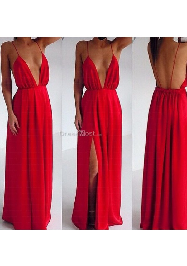 Length ruffles backless prom dress