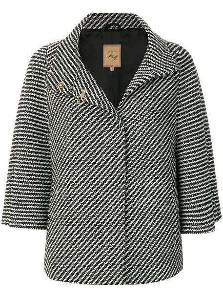 FAY coat short women black wool