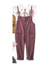 romper,plaid,checkered,overalls,cute,red,white