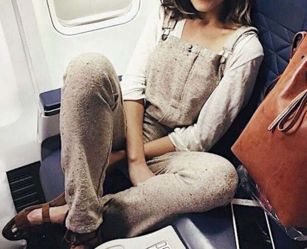 jumpsuit overalls tan linen cotton polyester nude beige khaki summer spring fall outfits winter outfits olivia culpo worn by olivia culpo travel
