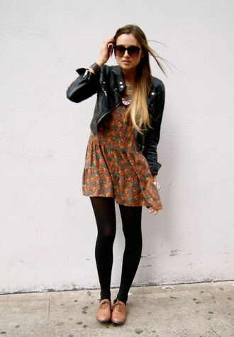 shoes leather jacket brown and green floral dress tights blogger sunglasses brown oxford shoes