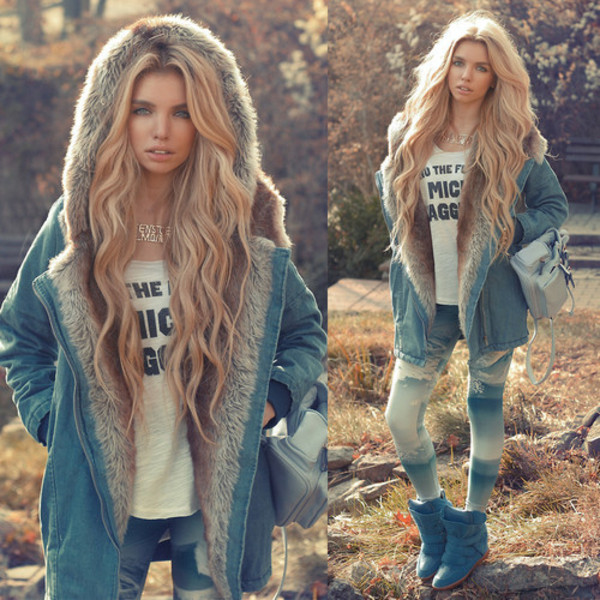 coat jeans coat fur light blue fall outfits jeans jacket shoes barbie hoodie pants necklace boots fashion stylish brand denim sunshine fall outfits jewels clothes tie dye hipster fur jacket womens jackets winter coat european faux fur leggings blonde hair cozy winter coat lookbook denim jacket fur coat