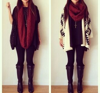 cardigan necklace scarf boots tights leggings winter outfits winter boots shoes