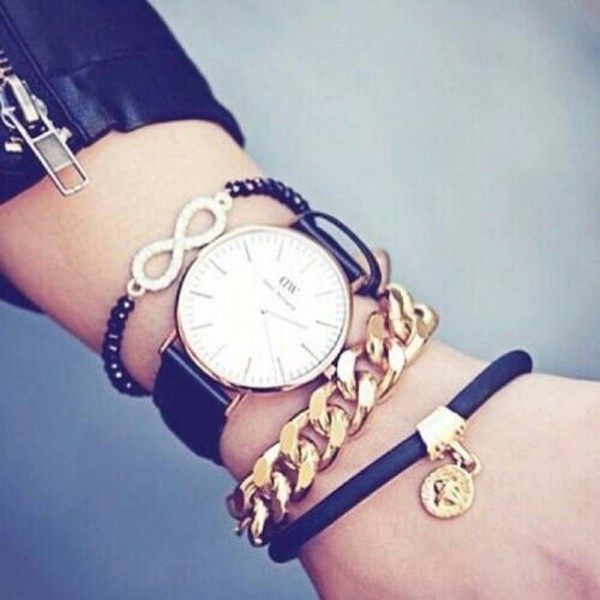 jewels watch gold black