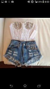 pants,top,rhinestones,bustier,white top