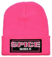 hat,spice girls,black,yellow,white,beanie,cool,pink
