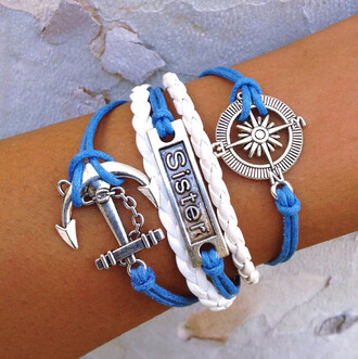 jewels bracelets anchor sister sisters braided blue cute love layered nautical