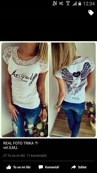 shirt white t-shirt white and black tshirt angel clothes