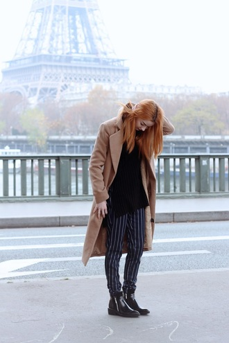 hannah louise fashion blogger coat pants shoes stripes camel coat