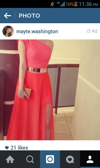 dress coral dress gold accessory