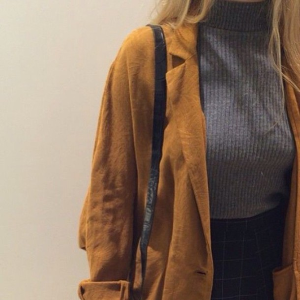 jacket coat mustard suede jacket sweater top minimalist style fashion yellow winter outfits winter coat fall outfits tumblr tumblr outfit trendy trench coat streetwear turtleneck grey sweater skirt