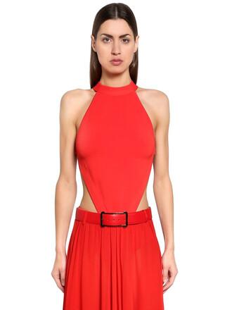 bodysuit back open open back knit red underwear